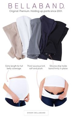 Bellaband - A premium seamless maternity band designed to hold up unbuttoned pants and loose maternity wear, featuring a stay-put silicone strip. #PregnancyFashion #pregnancybellyband
