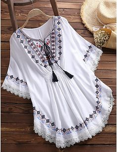 2019 Retro Women Folk Style Cotton Loose Batwing Sleeve Blouse Lace Up Tops Frock Fashion, Indian Fashion Dresses, Girls Fashion Clothes, Teen Fashion Outfits, Muslim Fashion, Stylish Dresses For Girls, Stylish Dress Designs, Casual Dresses, Designer Party Wear Dresses