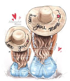 Mother And Daughter Drawing, Daughter Love, Mother Daughter Fashion, Mother Daughters, Mother Son, Very Nice Images, Mothers Day Shirts, Love You More, Digital Illustration