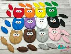 Owl color matching game embroidered, educational, montessori, memory, matching, learning, color game, bird, primary colors, color mixing toy - pinned by pin4etsy.com