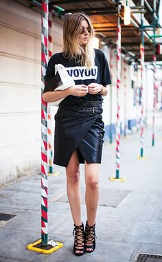 Street Style: All black with an envelope skirt and lace-up heels. Love this so much.