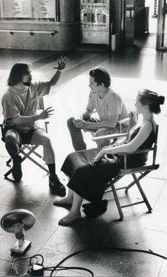 "Richard Linklater, Ethan Hawke and Julie Delpy on set of ""Before Sunrise""."