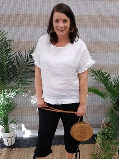 Haven Santorini linen top in white at Isla-Maree, Plus size Clothing for Curves and home to a lovingly curated collection of Plus Size and Inbetweenie Fashion. Curve Tops, Plus Size Summer, Santorini, Plus Size Outfits, Curves, T Shirts For Women, Clothes, Collection, Fashion
