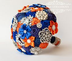 Wedding Bouquets Orange And Blue Brooch Bouquet Blue Orange