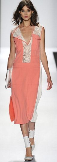 Pink coral with white lace @BCBG MAX AZRIA Spring 2013 #MBFW
