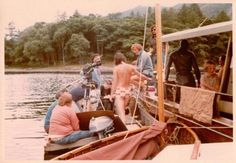 Battle of Houseboat Bay ~ The film director and camera crew afloat on Derwentwater in 1973