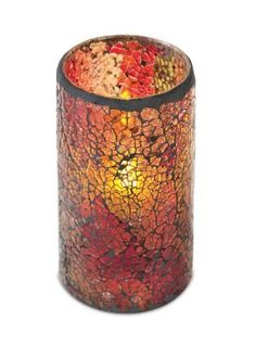 """6 Red/Gold/Orange Flameless Wax Pillar Candles in Glass Mosiac Holders 3"""" x 6"""" -- Want to know more, click on the image."""