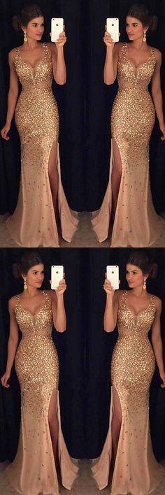 Gorgeous Tulle V-neck Neckline Mermaid Evening Dresses With Beadings PG507 #prom #dress #evening #promdress #bridesmaiddress #fashion #pgmdress #mermaiddress