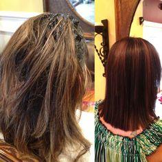 Before & After  Color- reddish brown  Treatment- keratin  By: colorangel5@hotmail.com Keratin Hair, Reddish Brown, Dreadlocks, Long Hair Styles, Beauty, Color, Long Hairstyle, Colour, Long Haircuts