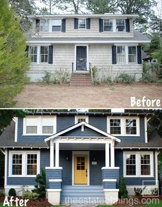 blue siding, yellow door, front porch, new windows, landscaping - take of shutters and add more trim around windows
