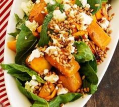 pumpkin, salad and feta salad - maybe add some balsamic glaze instead. Xmas Food, Christmas Cooking, Pumpkin And Feta Salad, Cooking Recipes, Healthy Recipes, Kitchen Recipes, Healthy Meals, Free Recipes, Salad Recipes