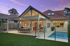 Covered area with automated vergola outside the family room - the pool is also great Outdoor Rooms, Outdoor Decor, Outdoor Furniture, Open Family Room, Alfresco Area, Outdoor Entertaining, Backyard Patio, Home Remodeling, Pergola