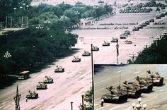 Una vision mas amplia de lo fotografia del hombre del tanque de la Plaza de Tiananmen (1989) « Fotografias Historicas