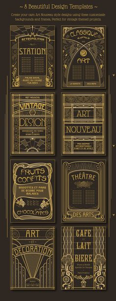 Art Nouveau Backgrounds and Frames by Wing's Art Studio on @creativemarket