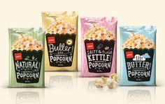 Pams Popcorn — The Dieline - Branding & Packaging Popcorn Packaging, Chip Packaging, Packaging Snack, Food Packaging Design, Brand Packaging, Kids Packaging, Microwave Popcorn, Gourmet Popcorn, Popcorn Bar