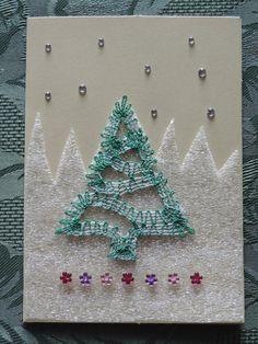 carte de voeux en dentelle aux fuseaux Dupont, Bobbin Lace, Hair Pins, Projects To Try, Angels, Weaving, Creations, Textiles, Knitting