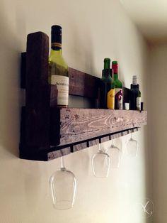 Reclaimed Wooden Wine Rack / Pallet wall hung wine rack / Glass Holder