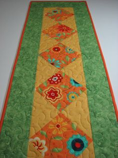 Quilted Table Runner , Modern Floral , Melon , Yellow , Green by VillageQuilts on Etsy