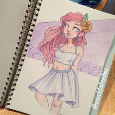I am Very Stressed Out™! I will manage but wow that feels bad. Unrelated, I deeply want to start walking around with flowers in my hair all the time, comment if you agree ⬇️ Art Drawings Sketches, Cartoon Drawings, Cool Drawings, Pretty Art, Cute Art, Character Drawing, Character Design, Hair Illustration, Marker Art