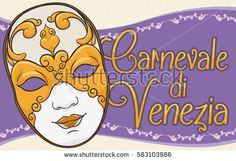 Banner with beautiful volto female mask decorated with gilded golden details for Carnival of Venice (written in Italian) celebration.