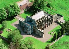 Come visit one of Scotland's most remarkable buildings, Rosslyn Chapel. See and experience the skill of history. Rosslyn Chapel, Medieval, Church Building, Knights Templar, Place Of Worship, Aerial View, Places To See, England, Mansions