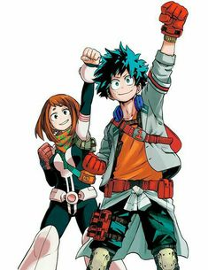 Izuku, Ochako, hero, uniform, outfit, suit, first pump; My Hero Academia