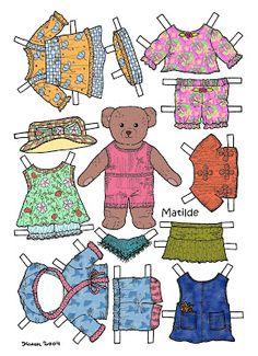 Karen`s Paper Dolls: Matilde 1-2 Paper Doll in Colours. Matilde 1-2 påklædningsdukke i farver.