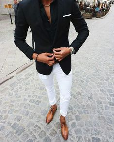 Custom Made Black Suits for Business Man Outfits Wedding Tuxedo White Pants Groom Wear Costume Homme Two Piece Slim Fit Terno Masculino Blazer Outfits Men, Casual Outfits, Navy Blazer Men, Classy Outfits, Men's Outfits, Mens Fashion Suits, Mens Suits, Mens Smart Fashion, Terno Casual