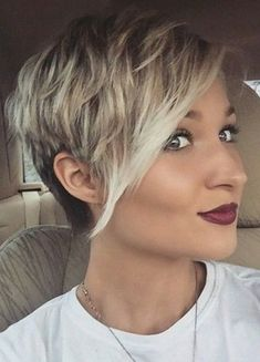 Short Pixie Cut with Long Bangs Short Sides, Check out these Short Pixie Cut with Long Bangs, Pixie Cuts with Long Bangs Short Sides, adn Short Choppy Pixie Cuts. Also some undercuts and layers ideas, Pixie Cuts Pixie Cut With Long Bangs, Pixie Haircut For Round Faces, Round Face Haircuts, Short Pixie Haircuts, Pixie Hairstyles, Haircut Short, Short Hair Long Bangs, Longer Pixie Haircut, Hairstyles 2018
