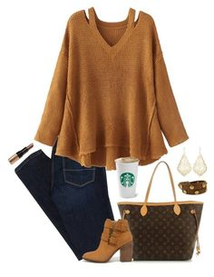 pumpkin spice and everything nice  by hannaclairee on Polyvore featuring polyvore fashion style WithChic American Eagle Outfitters Steve Madden Louis Vuitton Tory Burch Kendra Scott Bobbi Brown Cosmetics clothing