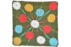 RETRO HANKIE, Zinnias on Forest Green, Linen, Red, Aqua, Gold, White, Geometric, Ribbons, Mid-Century, Hand Rolled Hem, Excellent Condition