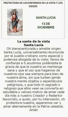 Santa Lucía, protectora de enfermos de la Vista. Santa Lucia, Oracion A Santa Rita, Catholic Prayers In Spanish, Giving Thanks To God, Personal Prayer, Little Prayer, Religious Images, Divine Mercy, Prayer Board