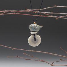 Bird Necklace Beach stone necklaceSpirit Bird by SueDavisJewelry, $55.00