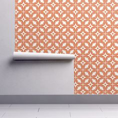 Mid Century Modern Wallpaper - Starburst Orange By Heatherdutton - Custom Printed Removable Self Adhesive Wallpaper Roll by Spoonflower Self Adhesive Wallpaper, Wallpaper Roll, Peel And Stick Wallpaper, Mid Century Modern Wallpaper, Drawer And Shelf Liners, Diy Hanging, Paint Cans, Textured Walls, Midcentury Modern