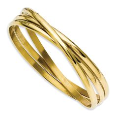 Stainless Steel Yellow IP-plated Intertwined Bangles SRB911GP