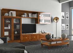 Composizione 2 - Le Mimose   Le Fablier Rack Tv, Tv Furniture, Diy Entertainment Center, Classic Collection, Bookcase, House Design, Construction, Shelves, Living Room