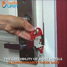 Portable Hotel Door Lock 😍 Staying in a hotel and feeling unsafe? Locks are broken or non-existent? Always feel you're under Mother's watchful eye? Safety and privacy are two things that you just can't compromise on and with the Portable Hotel Door Lock Simple Life Hacks, Useful Life Hacks, Hotel Door Locks, Hotel Lock, Home Safety, Cool Inventions, Home Hacks, Cool Tools, Cool Things To Buy