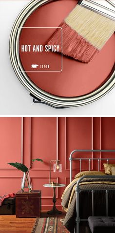 The deep red of Hot and Spicy is the perfect shade to bring color and warmth into your home. This intense hue really shines when paired with natural wood accents and rich browns. Check out BEHR's collection of 2017 Color Currents to find the perfect shade Room Colors, Wall Colors, House Colors, Interior Paint Colors, Paint Colors For Home, Behr Paint Colors, Interior Design, Deco Addict, Living Room Red