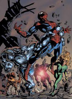 Spider-Man vs U-Foes by Mike Deodato Jr Marvel Villains, Marvel Characters, Marvel Heroes, Marvel Dc, Captain Marvel, Marvel Comic Books, Comic Books Art, Comic Art, Bruce Banner