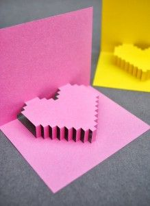 pixel heart pop up card Kirigami, Heart Pop Up Card, Heart Cards, Easy Diy Valentine's Day Cards, Valentine's Day Diy, Cards Diy, Valentine Crafts For Kids, Valentines Diy, Saint Valentin Diy
