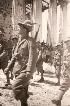 Alpini troops marching through a subdued Athens. Picture courtesy of WW2Incolor