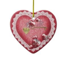Valentine's I Love You Heart and Lace Ornament