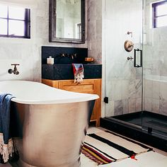 Free the tub - New Bathroom Decorating Ideas - Sunset - see all pictures and links for tub, tile and  lighting