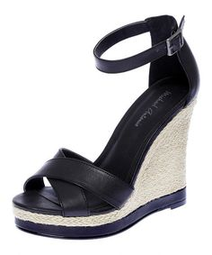 Take a look at this Black Geisa Wedge Sandal by Michael Antonio on #zulily today!