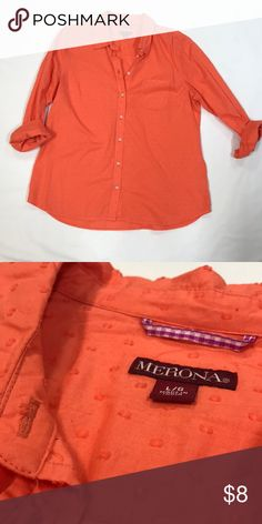 Orange Button Down Blouse Orange button down blouse with circle details Merona Tops Button Down Shirts Button Downs, Button Down Shirt, Orange Color, Colorful Shirts, Buttons, Crop Tops, Best Deals, Blouse, Things To Sell