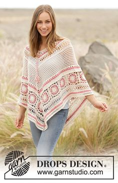 Poncho with lace pattern and crochet squares, worked top down in DROPS Belle. Sizes S - XXXL. This pattern is written in American English. Poncho Crochet, Crochet Shirt, Crochet Jacket, Crochet Vests, Knitting Patterns Free, Free Knitting, Free Pattern, Crochet Patterns, Shawl Patterns