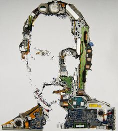 Here's a portrait of Steve Jobs made out of parts of a Macbook Pro, issued by web design company Mint Digital.