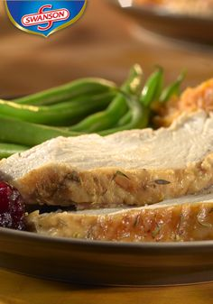 You'll never have an overly dry turkey breast again with this marinade recipe using chicken stock, rosemary, and thyme. The key is to refrigerate the turkey for at least two hours prior to roasting to lock in moisture and flavor. Thanksgiving Traditions, Happy Thanksgiving, Entree Recipes, Dinner Recipes, Swanson Broth, Recipe Using Chicken, Herb Roasted Chicken, Turkey Breast