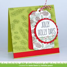 Love the multiple uses shown of the Deck the Halls stamps from Lawn Fawn