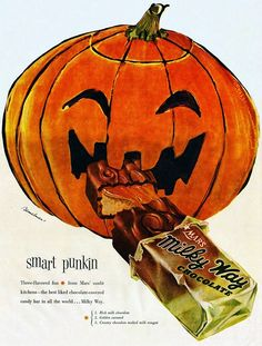 Vintage Halloween Mars Milky Way chocolate advertisement with jack-o'-lantern